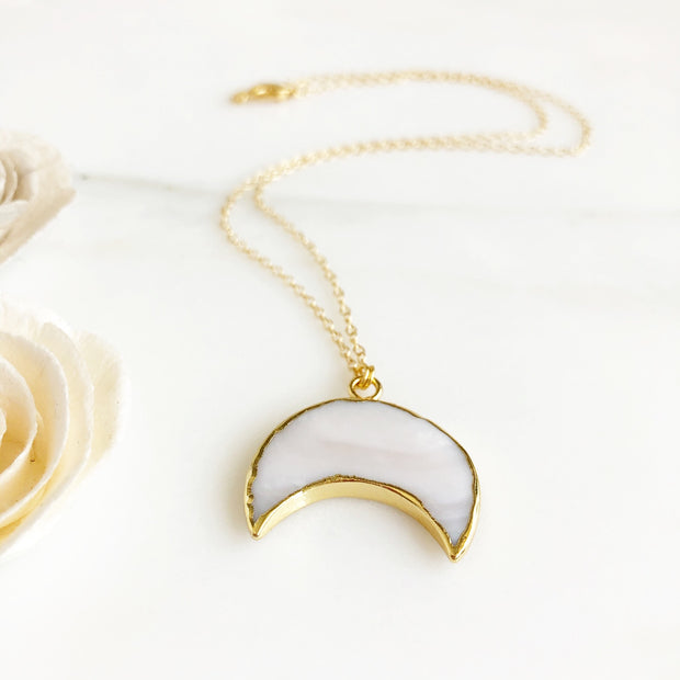 White Half Moon Pendant Necklace. Short Boho Moon Necklace. Stone Moon Necklace. Yellow Gold.