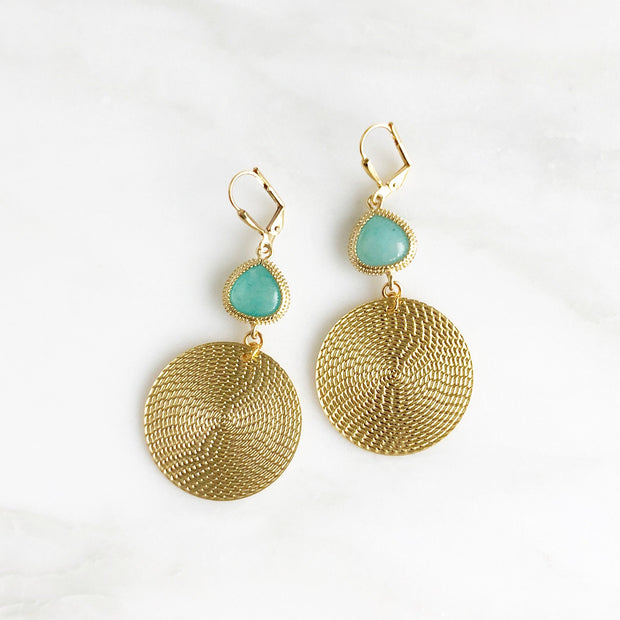 Gold Circle and Aqua Stone Statement Earrings. Chandelier Earrings