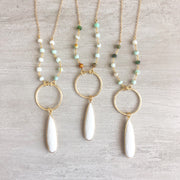 Long White Teardrop Stone Necklace with Amazonite Beaded Chain. Long Boho Necklace. Long Necklace.