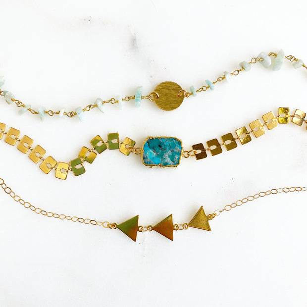 Turquoise Gold Chain Bracelet Set. Gold Disk Triangle Charm Beaded Bracelet