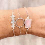 Pink Opal Gemstone Bracelet in Sterling Silver. Simple Dainty Gemstone Bracelet