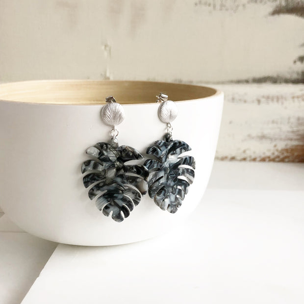 Statement Earrings. Black Leaf Acrylic Earrings. Silver Post Earrings. Dangle Earrings. Earrings.