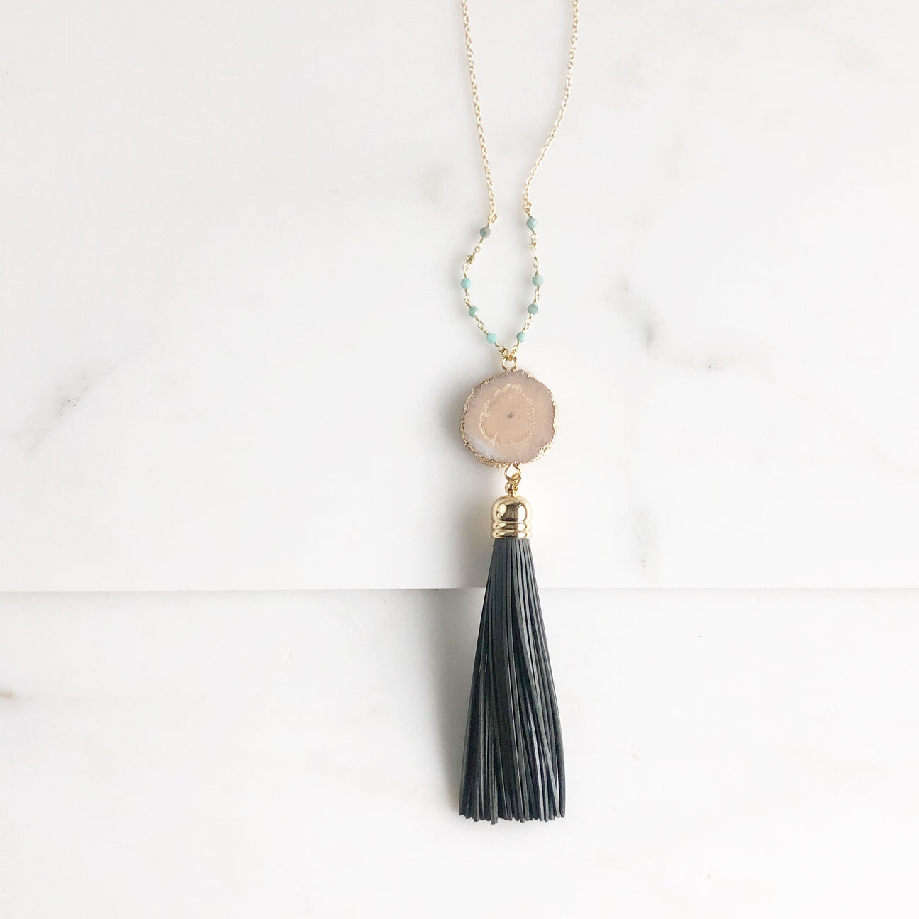 Champagne Solar Quartz Grey Tassel Necklace with Amazonite Stones in Gold.