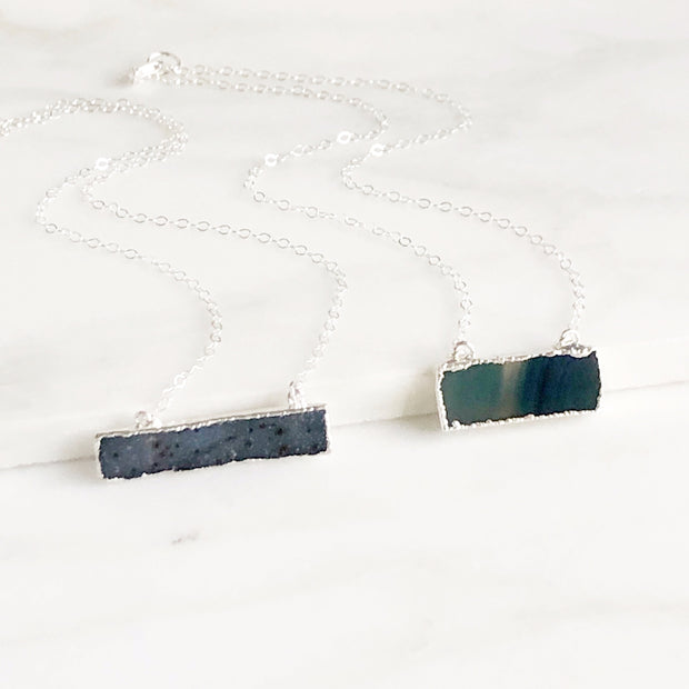 Blue Speckled Druzy Bar Necklace in Sterling Silver