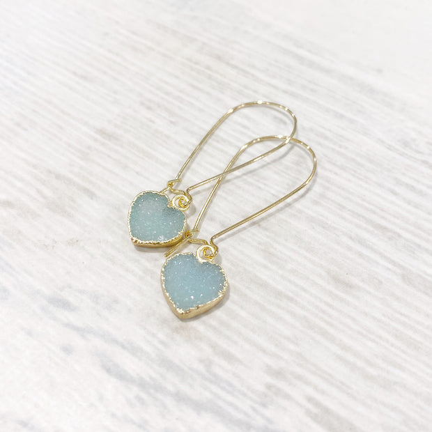 Heart Druzy Drop Earrings in Gold. Heart Drop Valentines Earrings