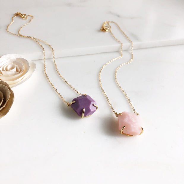 Purple Howlite and Rose Quartz Chunky Stone Necklace in Gold