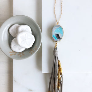 Boho Tassel Necklace. Grey Tassel Necklace and Blue Grey Druzy Quartz. Long Necklace. Boho Style.