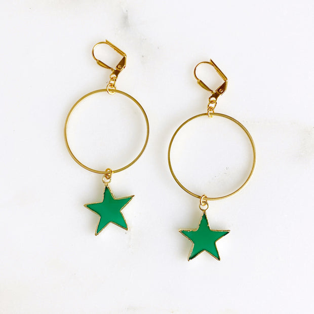 Hoop Earrings with Star Drops. Green Black Turquoise Star and Gold Hoop Earrings. Dangle Earrings