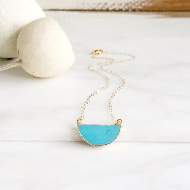 Simple Turquoise Half Moon Necklace. Everyday Turquoise Crescent Necklace