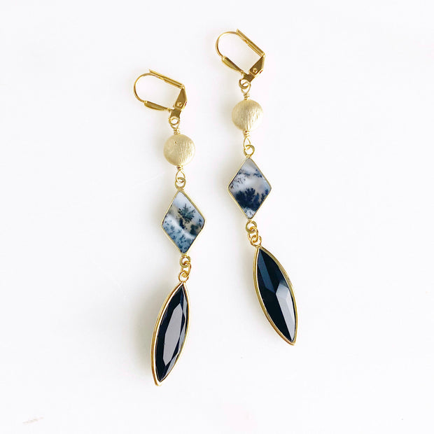 Long Dangle Earrings with Dendrite Opal and Black Stones. Long Black and Gold Earrings