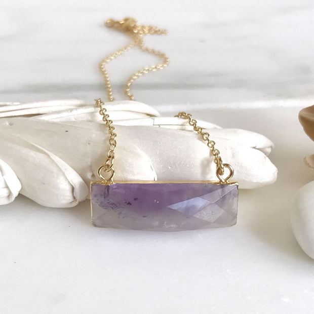 Amethyst Bar Necklace. Crystal Necklace. Raw Stone Necklace. Pendant Necklace. Dainty Gold Bar Necklace. Gift for Her. Layering Necklace.