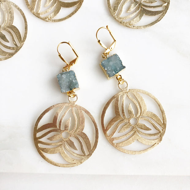 Druzy Statement Earrings in Gold. Pale Aqua Druzy and Gold Statement Earrings. Druzy Jewelry. Gift.