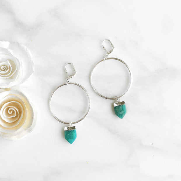 Large Silver Hoop Earrings with Amazonite Shield Stones. Large Silver Hoops