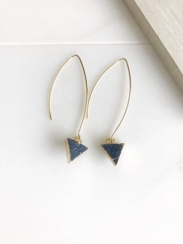 Druzy Triangle Hoop Earrings. Blue Triangle Druzy Dangles. Gold Druzy Earrings. Gift.