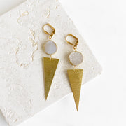 White Druzy and Triangle Earrings in Gold. Modern Brushed Brass Earrings