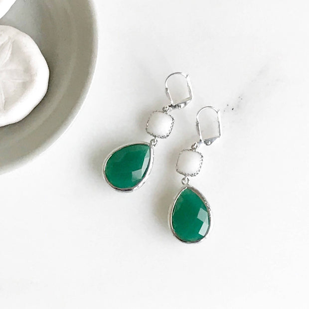 Green and White Dangle Earrings in Silver. Green Dangle Drop Earrings