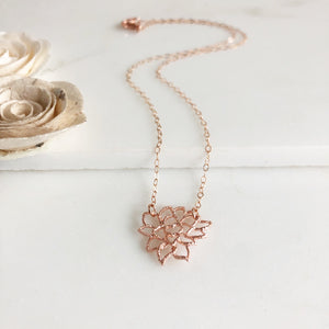 Rose Gold Lotus Necklace. Dainty Lotus Necklace in Rose Gold. Yoga Necklace. Charm Necklace. Gift.