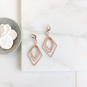 Rose Gold Statement Earring. Long Rose Gold Earrings with Clear Stones. Rose Gold Earrings. Rose Gold Jewelry. Gift.