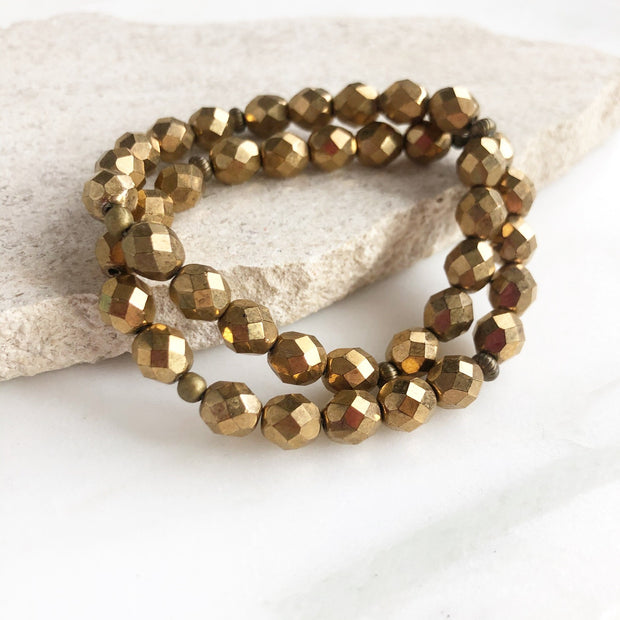 Shiny Gold Stacked Bracelets. Beaded Bracelets. Czech Glass Beaded Bracelets. Set of Two Bracelets.
