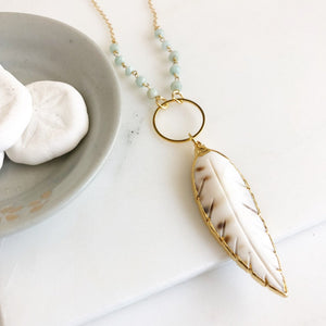 Long Gold Necklace. Layering Necklace. Leaf Necklace. Beaded Necklace. Jewelry. Boho Jewelry. Shell Necklace. Amazonite Necklace. Gift.