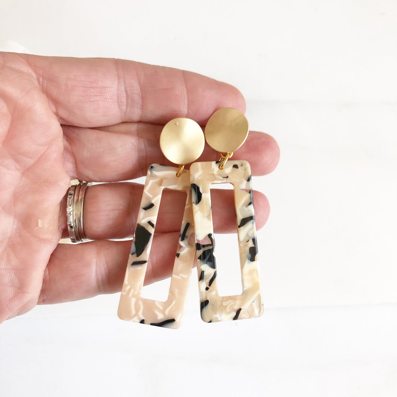 Gold Post Acrylic Earrings. Cream and Black Gold Disk and Rectangle Earrings. Modern Earrings.