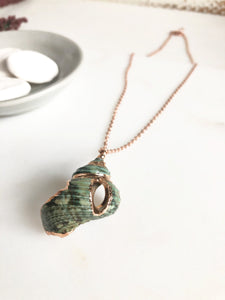 Green Shell Rose Gold Necklace. Natural Beach Jewelry.