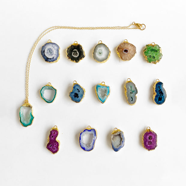 Gold Druzy Necklace. Solar Quartz Necklace. Raw Stone Necklace. Choose Your Unique Stone