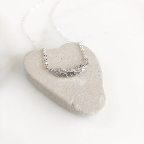 Petite Silver Feather Necklace. Simple Silver Necklace. Dainty Silver Necklace. Pendant Necklace.