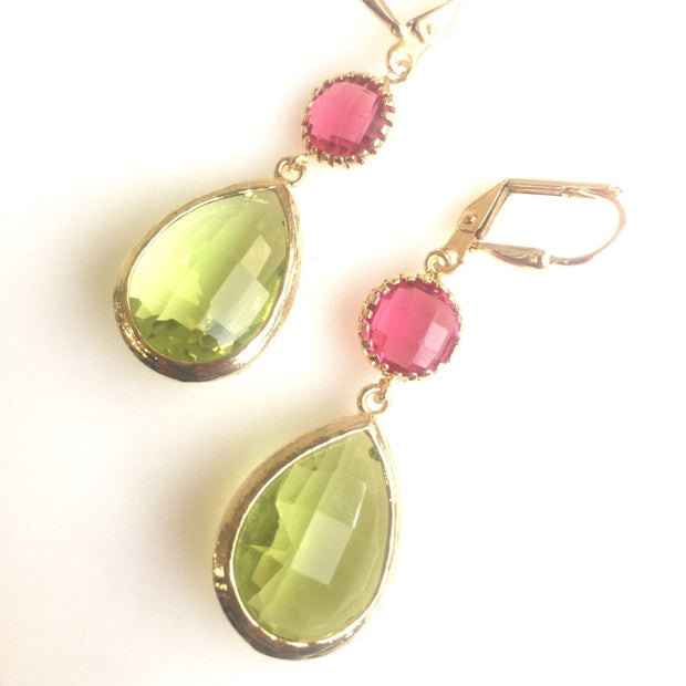 Olive Green and Ruby Red Dangle Earrings. Autumn Drop Earrings