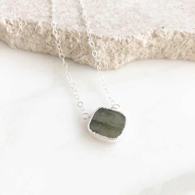 Labradorite Gemstone Slice Pendant Necklace in Silver. Stone Necklace. Holiday Layering Jewelry.