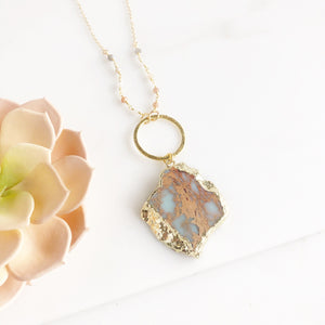 Long Pendant Necklace with Unique Jasper Stone and Multicolor Moonstone Beading in Gold