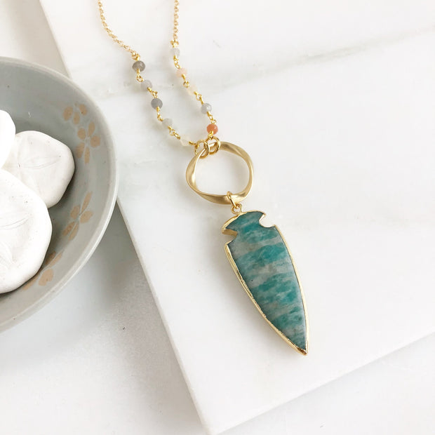 Long Bohemian Necklace with Amazonite pendant and Moonstone beaded chain. Long Boho Necklace. Jewelry Gift for Her. Druzy Necklace Gift.