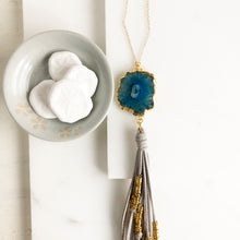 Load image into Gallery viewer, Boho Tassel Necklace. Light Grey Tassel Necklace and Blue Solar Quartz. Long Necklace. Boho Style.
