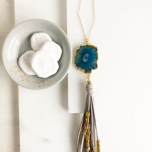 Boho Tassel Necklace. Light Grey Tassel Necklace and Blue Solar Quartz. Long Necklace. Boho Style.