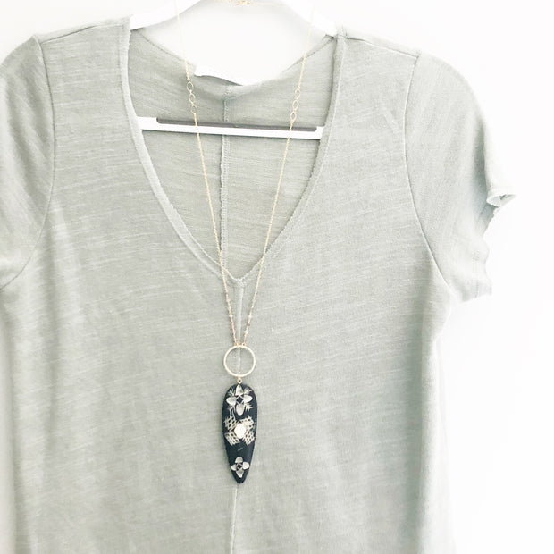 Long Pendant Necklace. Long Necklace. Boho Necklace. Bohemian Necklace. Black Bone Necklace. Boho Jewelry. Gift.