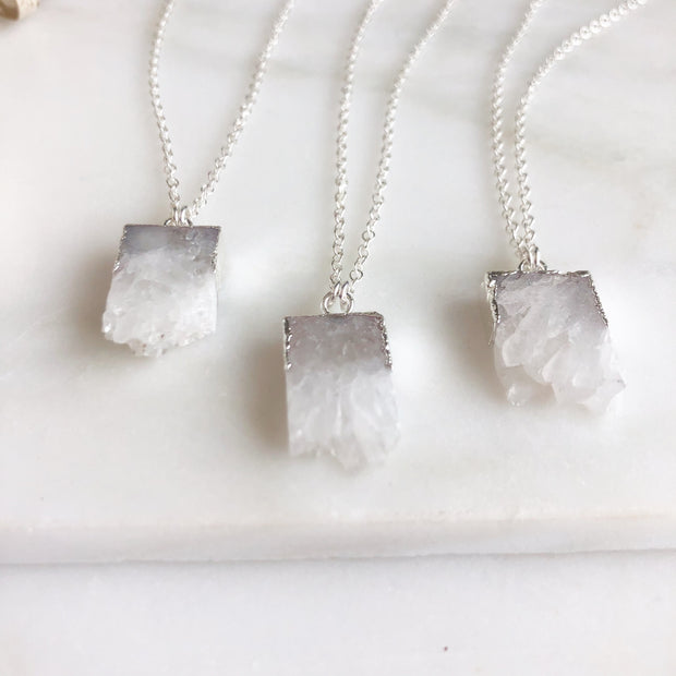 Raw Edge White Grey Druzy Quartz Necklace in Sterling Silver. Natural Stone Necklace.