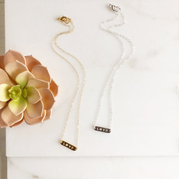 Dainty LOVE Necklace. Silver and Gold. Layering Necklace