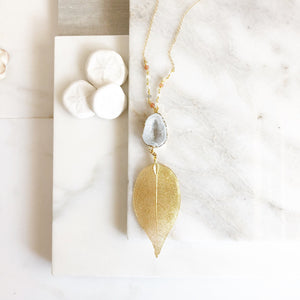 Long Gold Leaf and Open White Druzy Necklace with Moonstone Beaded Chain. Fall Colors Druzy Pendant Necklace. Druzy Necklace. Boho Necklace.