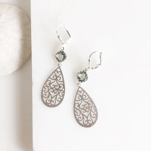 Sweet Charcoal and Silver Teardrop Earrings