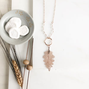 Long Rose Gold Leaf Necklace. Rose Gold Leaf Necklace and White Beaded Chain. Rose Gold Jewelry.