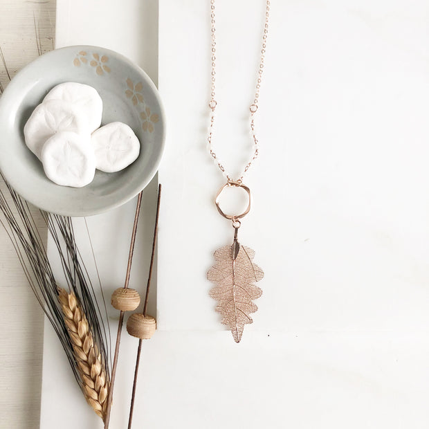 Long Rose Gold Leaf Necklace. Rose Gold Leaf Necklace and White Beaded Chain