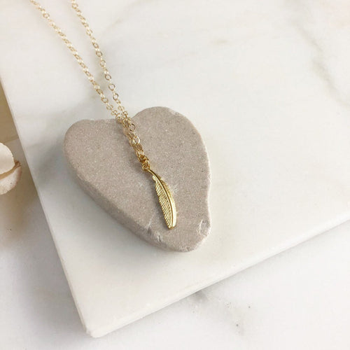 Petite Gold Feather Necklace. Simple Gold Necklace. Dainty Gold Necklace. Pendant Necklace. Gold Layering Necklace. Gift for Her.
