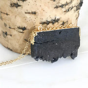 Black Druzy Necklace in Gold. Geode Chunky Stone Necklace
