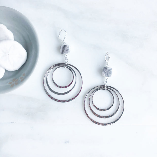Shiny Big Multiple Hoops with Grey Druzy Stones. Silver Statement Earrings