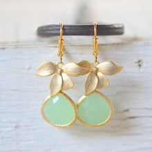 Load image into Gallery viewer, Mint Teardrop Drop Earrings with Gold Orchid. Mint Dangle Earrings. Bridesmaids Earrings. Jewelry Gift. Mint Drop Earrings. Christmas Gift.