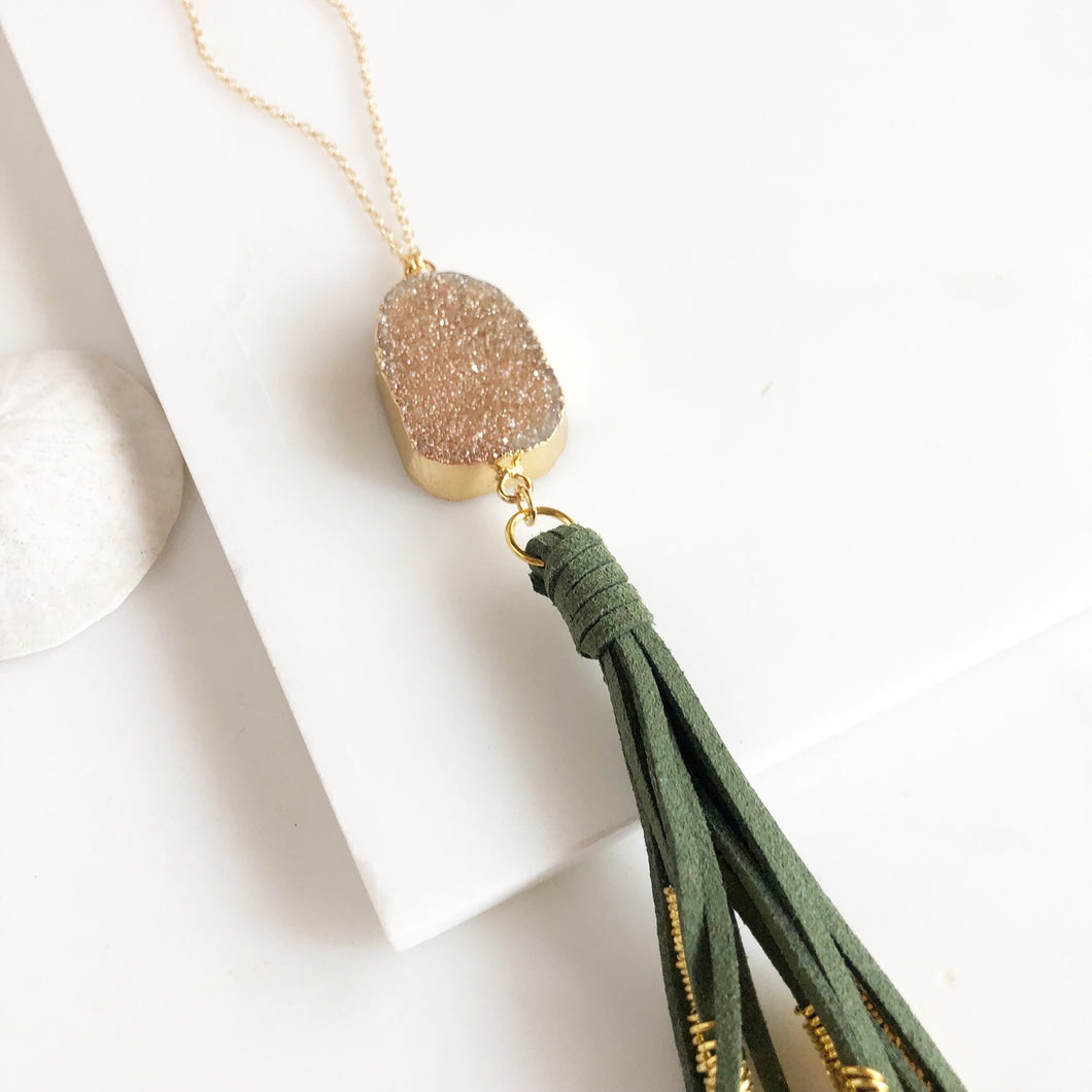 Boho Tassel Necklace with Champagne Druzy and Long Green Tassel. Long Necklace. Bohemian Necklace.