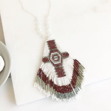 Load image into Gallery viewer, Beaded Tassel Necklace in Silver. Long Fringe Necklace. Burgundy and White Beaded Tassel Necklace. Tassel Jewelry. Long Boho Necklace.