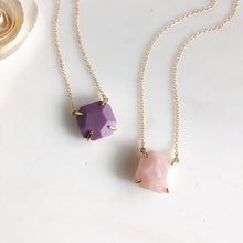 Load image into Gallery viewer, Purple Howlite and Rose Quartz Chunky Stone Necklace in Gold.