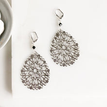 Load image into Gallery viewer, SALE - Silver Teardrop Earrings with Black Swarovski Crystals. Silver Statement Earrings.