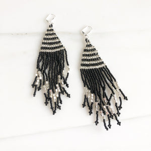 Fringe Earrings. Silver and Black Tassel Earrings. Beaded Fringe Earrings. Beaded Tassel Earrings.